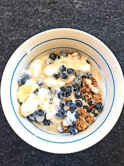 Breakfast, Cereal, Blueberries, Summer, Healthy, Food
