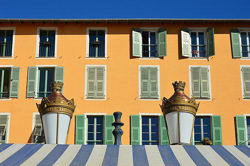 Nice, France, Windows, Building, Architecture