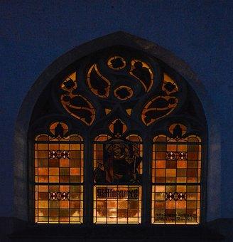 Church Window, Colorful, Evening, Illuminated, Church