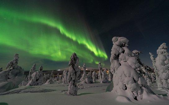 Aurora Borealis, Northern Europe, Aurora, Color, Snow
