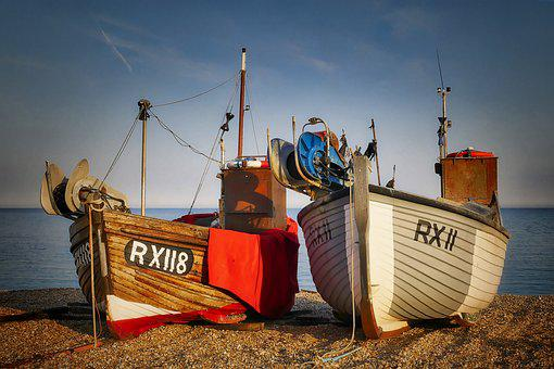 Fishing Boats, Fishing Port, Beach, Sea