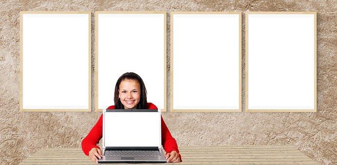 Computer, Office, Desk, Woman, Girl, Laptop, Empty