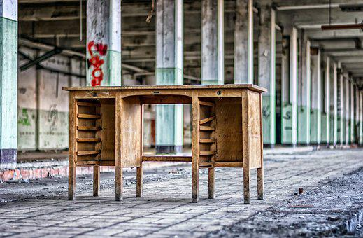 Lost Places, Hall, Columnar, Desk, Office, Pforphoto