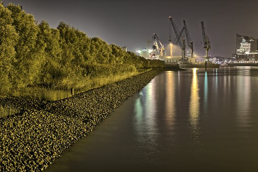 Port, Hamburg, Elbe, Harbour Cranes, Evening, Germany