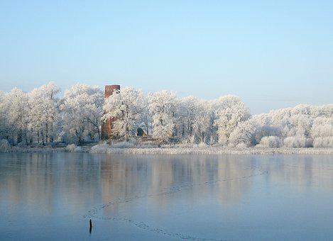 Hoarfrost, Ripe, Winter, Lake, Ice Rink, Winter's Day