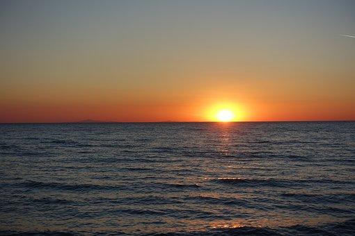 Mediterranean, Sunset, Sun, Sea, Ocean