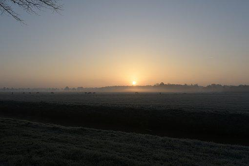 Sunrise, Sun, Fog, Landscape, Nature, Netherlands