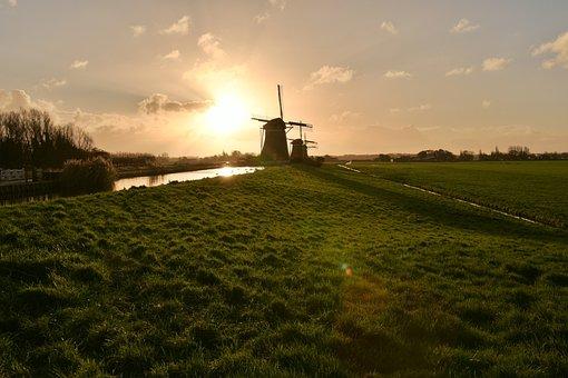 Sunrise, Mill, Mills, Netherlands, Dutch Mill