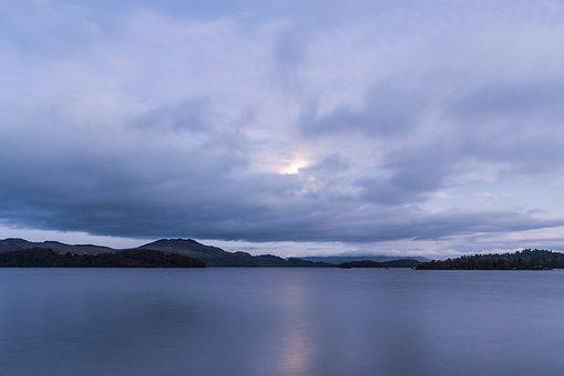 Moonlight, Lake, Hole, Night, Clouds, Atmospheric