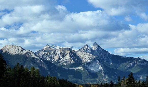 Mountain, October, Fall, Nature, Snow, Scene, Landscape