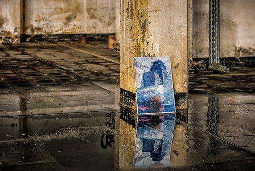 Lost Places, Mirroring, Water, Dirt, Pillar, Pforphoto