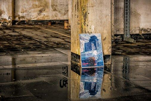 Lost Places, Mirroring, Water, Dirt, Pillar, Pforphoto