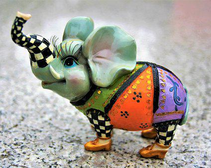 Elephant, Porcelain, Proboscis, Shoes, Colorful