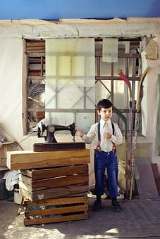 Rustic, Boy, Sewing Machine, Barn, Rural Landscape