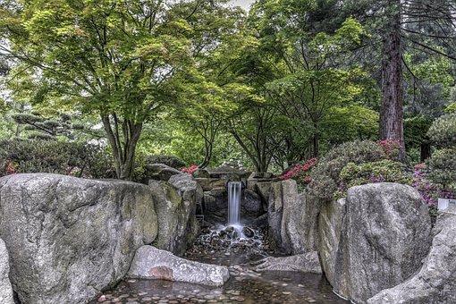 Park, Planned Un Blomen, Hamburg, Scenic, Water