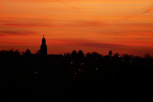 Sunset, Dusk, Dawn, Evening, Silhouette, Backlit, Sky