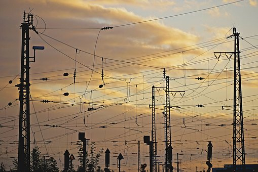 Railway, Catenary, Station Area, High Voltage