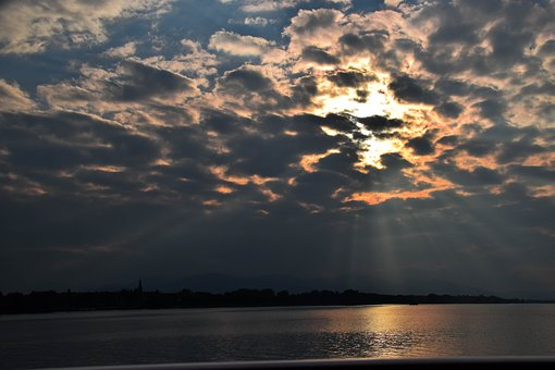 Clouds, Sun, Lake Constance, Romantic, Sunset