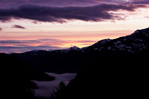 Sunrise, Mountains, Fog, Alpine, Morning, Snow, Winter
