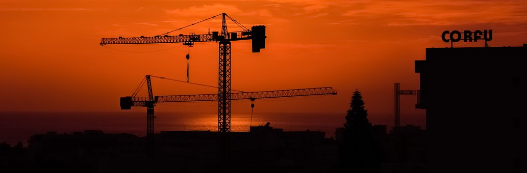 Cranes, Sunset, Construction, Silhouette, Shadows