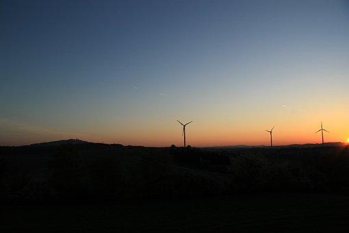Pinwheel, Sunset, Sky, Wind Energy, Energy, Wind Power