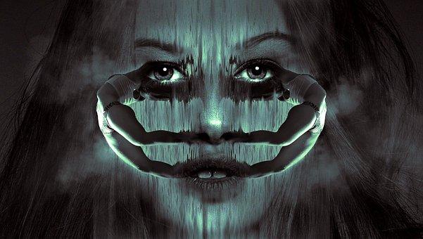 Fantasy, Portrait, Woman, Body, Mirrored, Face