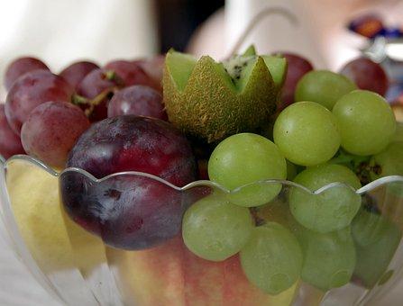 Fruit, Grapes, Kiwi, Plum, Bowl, Green, Lean, Fresh