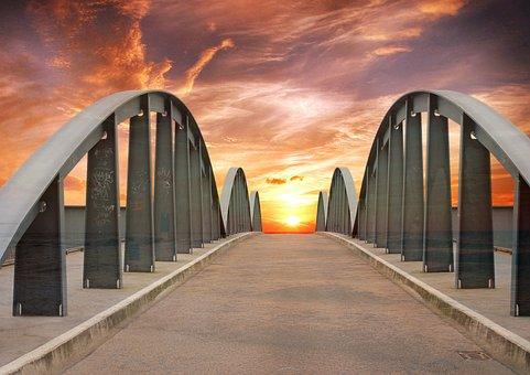 Bridge, Sundown, Sunset, Landscape, Landmark, Evening