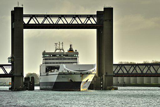 Calandbrug, Bore Sea, Bridge, Autoboot, Caland Canal