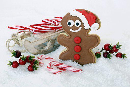 Gingerbread Man, Christmas, Slide, Candy Canes, Snow