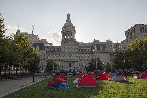 Baltimore, City Hall, Tent City, Homeless, Lawn, Park