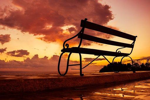 Bench, Sunset, Sky, Clouds, Scenery, Romantic, Autumn