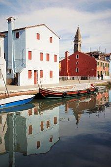 Burano, Burano Island, Venice, Homes, Colorful, Channel
