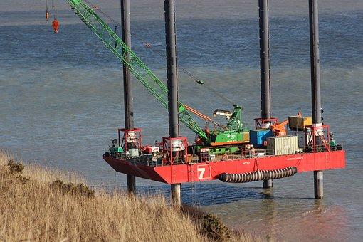 Crane, Platform, Sea