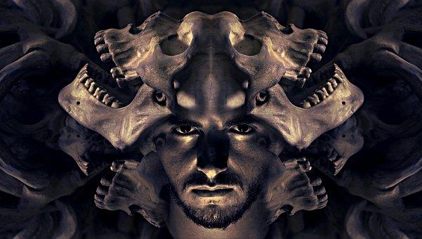 Fantasy, Portrait, Skull And Crossbones, Helm, Gloomy