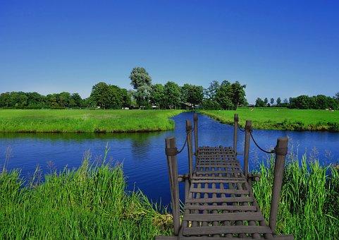 Bridge, River, Blue Sky, Greenery, Grass, Plant