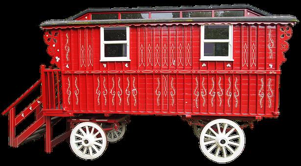 Dare, Caravan, Stairs, Car Red, Bauwagen, Hisorisch