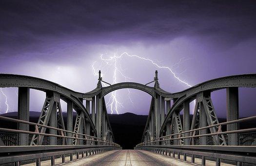 Bridge, Lightning, Dark, Clouds, Night, Landscape