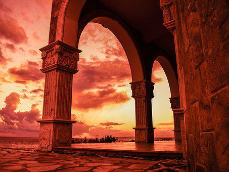 Church, Architecture, Arches, Sunset, Religion, Light