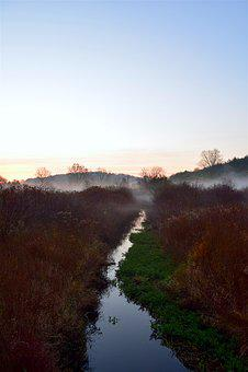 Mist, Morning, Field, Stream, Nature, Landscape, Fog