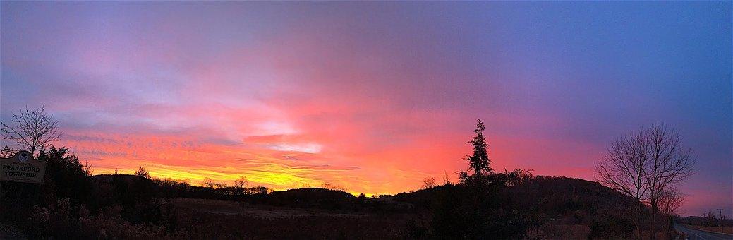 Sunrise, Mountain, Tree, Pine Tree, Colorful, Nature
