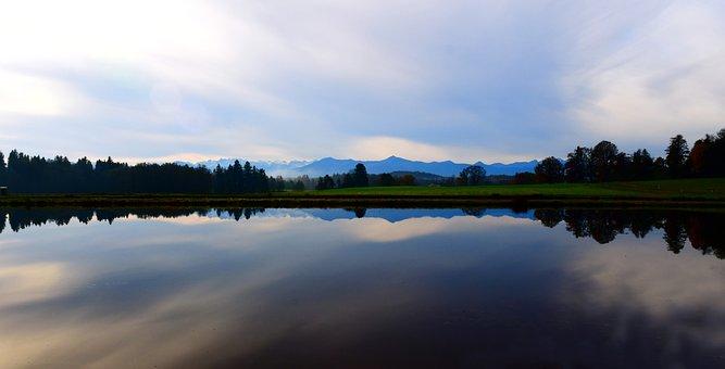 Horizon, Mountains, Sky, Clouds, Alpine, Mirroring