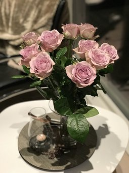 Roses, Interior, Flowers, Light, On The Table, Homely