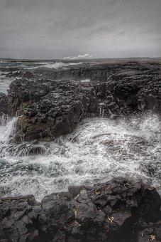 Forward, Sea, Wave, Cliff, Lake, Dark, Gloomy, Grey