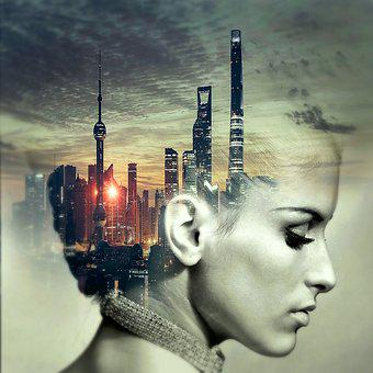 Cd Cover, Head, City, Skyscraper, Cd, Music, Music Cd