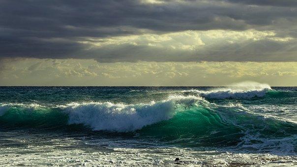 Wave, Spectacular, Smashing, Sky, Clouds, Autumn, Sea