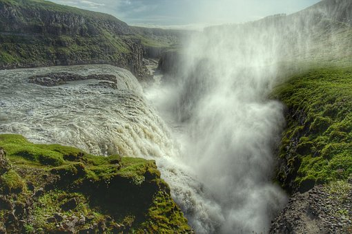 Gullfoss, Waterfall, Enormous, Iceland, Spray, Fog