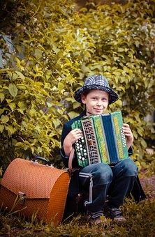 Baby, Play, Accordion Player, Joy, Kid, Happy, Sit