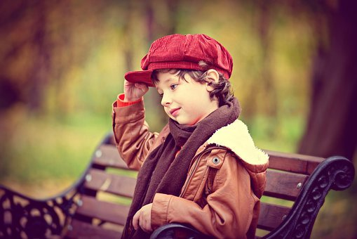 Autumn, Bench, Child In Park, The Child On The Bench