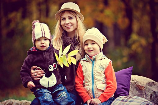 Park, Boy, Family, Mother With Children, Autumn